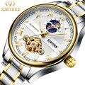 Новые KINYUED брендовые автоматические механические часы для мужчин Роскошные модные золотые римские цифры часы повседневные часы из нержаве...