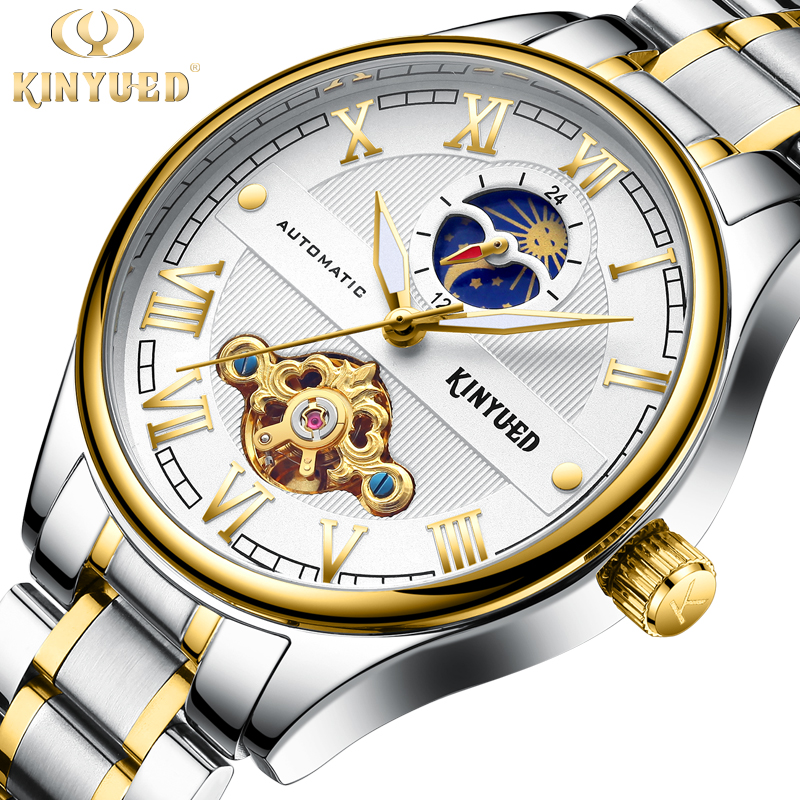 new KINYUED brand Automatic Mechanical Watches for men luxury fashion Gold Roman Numeral Watch Casual Stainless Steel clock все цены