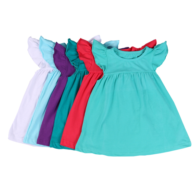 a7c6f8d4d702 MUDBALA Wholesale Infant Toddler Kids Clothing Baby Girls Smocked Tunic  Dress Flutter Sleeve Blank Cotton Pearl Dress