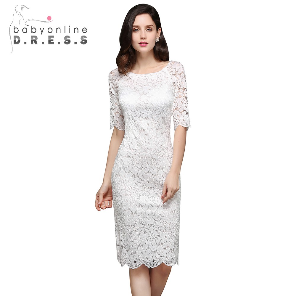 Babyonlinedress New Arrival Elegant Straight Half Sleeve Lace   Evening     Dress   Short   Evening   Party   Dresses   Robe de Soiree