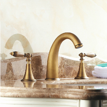 Brass Antique Deck Mount Dual Handles Basin Faucet 3pcs Bathroom Lavatory Washbasin Mixer Tap