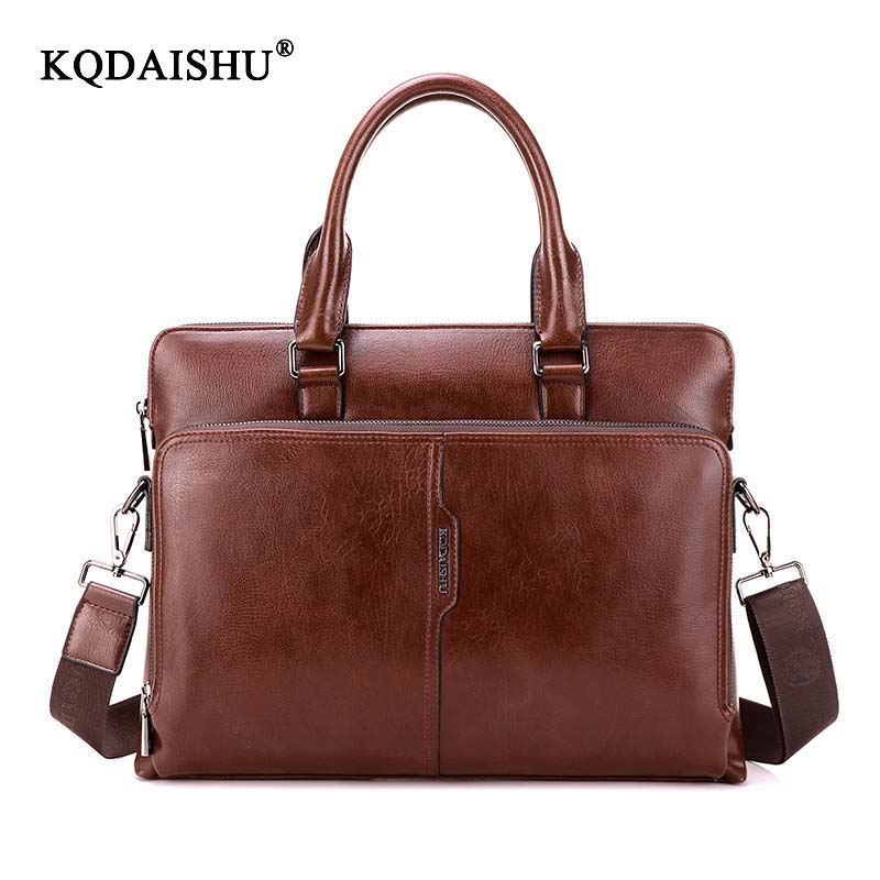 KQDAISHU Brand High quality Tote for man shoulder bag Men Business briefcase new Handbag Fashion bags pu Leather luxury design
