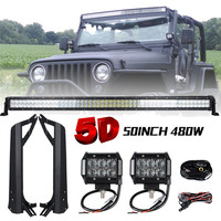 288W 50 inch Offroad 5D LED Light Bar Combo + 4 18W Bar LED Mounting Brackets for Jeep Wrangler TJ 97 06 Jeep Windshield Light