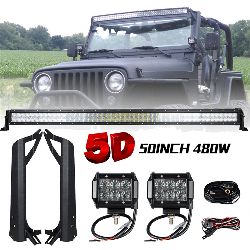 480W 50 inch Offroad 5D LED Light Bar Combo + 4 18W Bar LED Mounting Brackets for Jeep Wrangler TJ 97-06 Jeep Windshield Light windshield pillar mount grab handles for jeep wrangler jk and jku unlimited solid mount grab textured steel bar front fits jeep