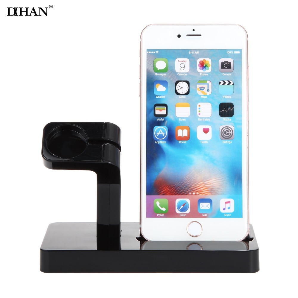 DIHAN 2 in 1 Phone Dock Station Charging Charger Holder Desk For Apple Watch iPhone X 7 8 6 6S Plus Tablet Cradle Stand Bracket