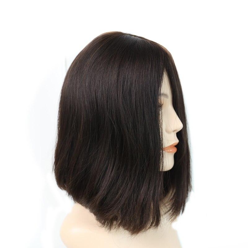 4x4 Silk Base 150% Density Jewish Wig 100% Unprocessed European Remy Human Hair Kosher Wig Natural #4 Straight Bob Wig