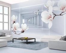 Купить с кэшбэком beibehang High quality silk material 3d wallpaper Magnolia flower butterfly 3d extend space modern tv background wall wallpaper