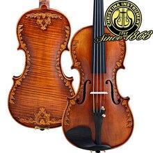 Christina v07-carved violín 4/4 avanzada hecha a mano italia madera spruce violino violín antiguo instrumento musical, estuche de violín, colofonia