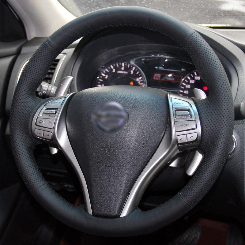 BANNIS Negro Cuero artificial DIY cosido a mano cubierta del volante - Accesorios de interior de coche - foto 2