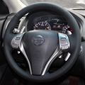 Black Artificial Leather DIY Hand-stitched Steering Wheel Cover for Nissan 2013 Teana 2014 X-Trail QASHQAI Sentra