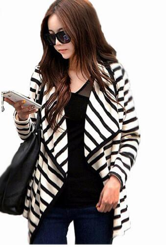 2017 New Casual Long Sleeve Open Stitch Tops Striped Women Jacket Coat Fashion Lady Spring Autumn Cardigans Sweater Outerwear