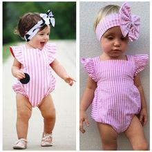 Новинка года; боди для новорожденных; одежда для маленьких девочек; полосатый хлопковый качественный повседневный розовый комбинезон с бантом; пляжный костюм; боди для маленьких девочек