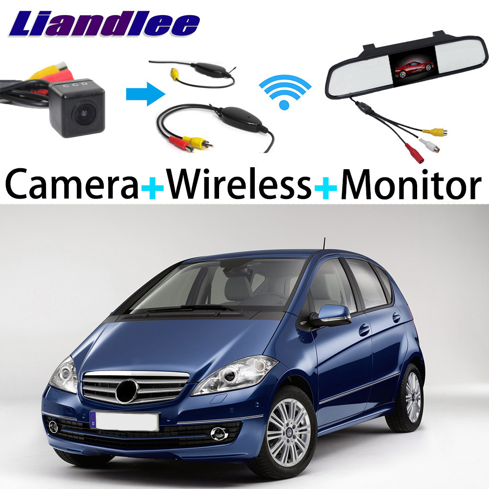 Liandlee 3in1 Wireless Receiver Mirror Monitor Special Rear View Camera Backup Parking System For Mercedes Benz A Class MB W169 liislee 3in1 special camera wireless receiver mirror screen diy rear view parking system for mercedes benz mb b class w245