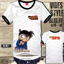 Free Shipping Detective Conan Hip-Hop Anime Piano Spoof Funny Cartoon t-Shirt Loose Short-Sleeved Detective Conan Tshirt