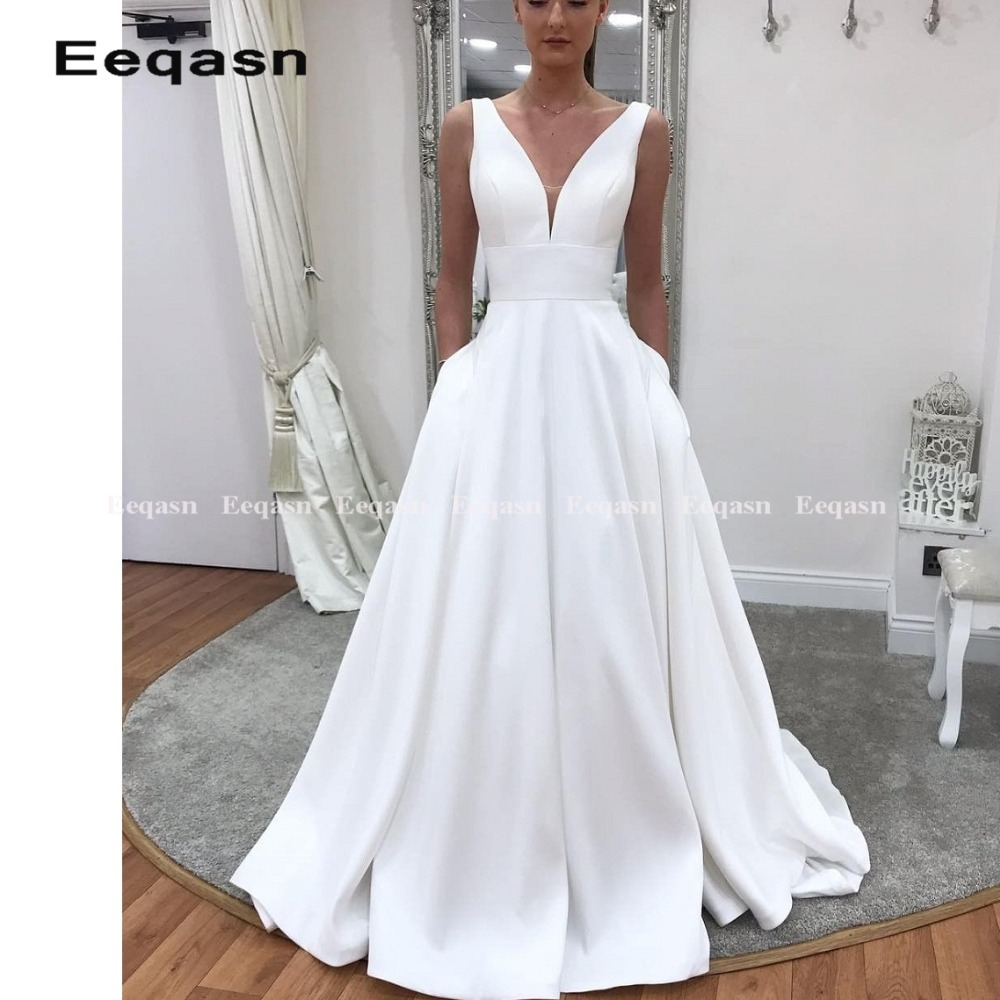 simple cheap wedding dress spandex satin a line pure bridal gown robe de mariee vestidos de