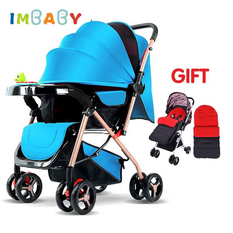 IMBABY Luxury Baby Stroller With Music Plate&Foot Cover For Winter Folding High Landscape Infant Baby Pram Carriage For Newborn