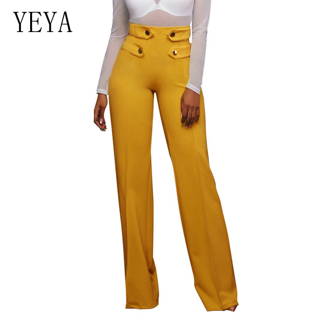YEYA Fashion Women Palazzo Pant Button Design Loose Casual Wide Leg Pants Summer Long Trousers Black White High Waist Pant Femme