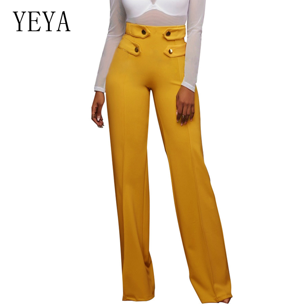 YEYA Fashion Women Palazzo   Pant   Button Design Loose Casual   Wide     Leg     Pants   Summer Long Trousers Black White High Waist   Pant   Femme