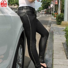 Корейская версия леггинсов, мужские облегающие джинсы из искусственной кожи, сексуальные обтягивающие кожаные штаны, крутые персональные повседневные штаны с боковой молнией