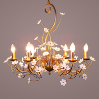 Home metal Chandelier Led candle Lamp Golden Iron Chandelier Lights Foyer Flower Hanging Luminaria Wedding Living Room Lustres