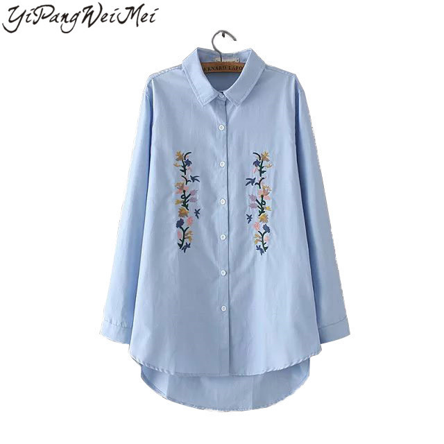 New Fashion Women Blouse Casual Embroidery Plus Size 3XL 2017 Spring Autumn Elegant Vintage Shirts Long Sleeve Ladies Tops