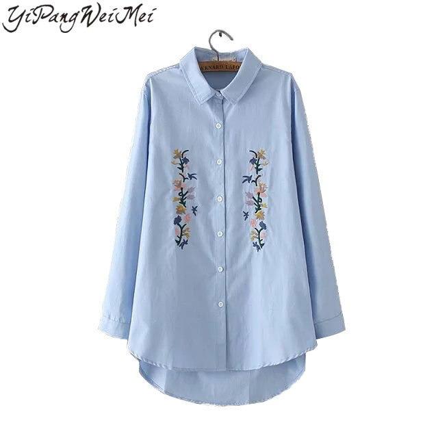 Novas Mulheres Da Moda Blusa Ocasional Bordado Plus Size 3XL 2017 Primavera Outono Elegante Do Vintage Camisas de Manga Longa Partes Superiores Das Senhoras