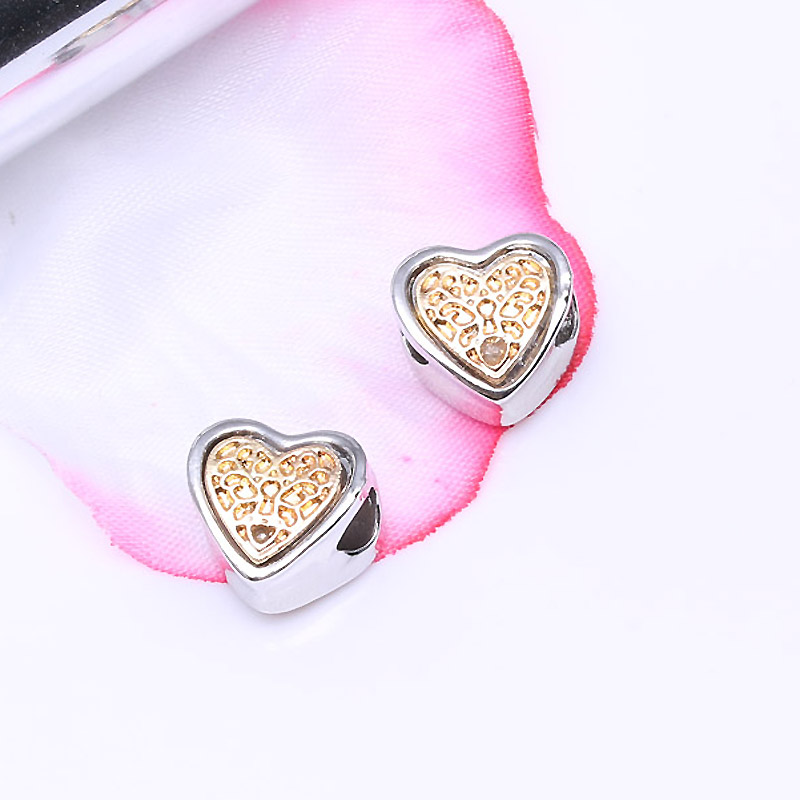CHIELOYS 2pcs/lot Heart Shape Charms Beads Fit Authentic Pandora Charms Bracelet Silver Colour for Women DIY Jewelry Making