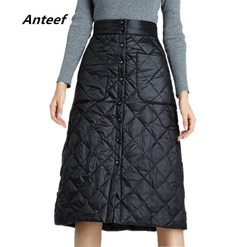 Anteef plus size preto 2019 roupas de cintura alta outono inverno saia casual solto midi saias das mulheres jupe feminino streetwear