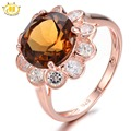 Hutang Round 10mm Somky Quartz Rose Gold Plated 925 Sterling Silver Ring Gemstone Fine Jewelry Classic Style For Women's