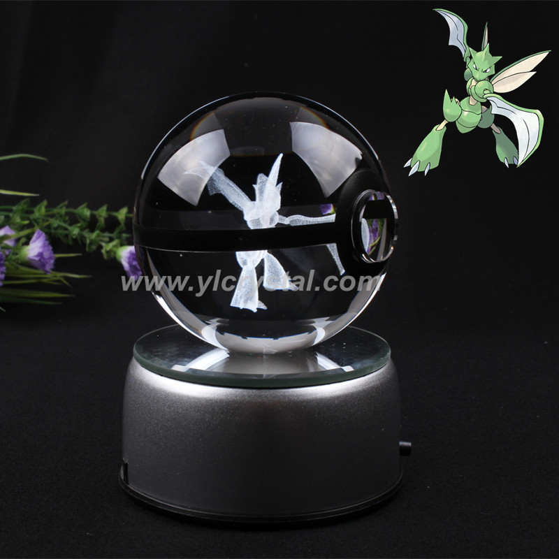 New Style Good Quality Pokemon Ball With Engraving Scyther Crystal Ball With Free Shipping With Led base With Gift Box