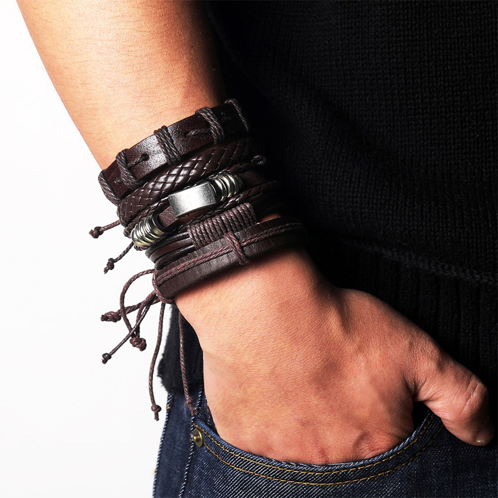 Us 3 38 35 Off 17if 5pcs Punk Multiple Layers Leather Bracelet Beads Men Clic Rope Chain Arm Wrap Bracelets Bangles Set Male Jewelry 2019 In