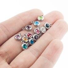 Breloques en Pierre de Naissance en cristal coloré, en acier inoxydable, 6mm, pour bijoux, prix de gros, 12 pièces/lot