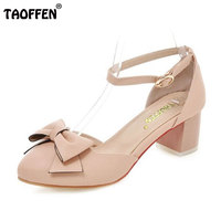 TAOFFEN Size 31 43 Sexy Women Ankle Strap High Heel Sandals Woman Square Heel Shoes Comfortable
