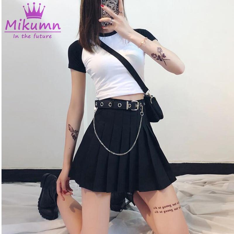 2019 New Summer Women's Harajuku Skirt Gothic Black High Waist Mini Skirts Cute Girls Punk Short Skirt XS-XL Saia Feminina