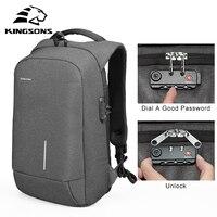 Kingsons Men Waterproof Anti Theft Lock Backpack 13 15 USB Charging Backapcks School Bag Laptop Computer