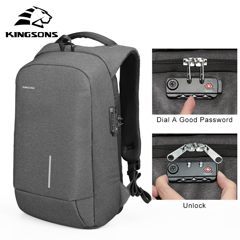 Kingsons Men waterproof Anti-theft Lock Backpack 13 15'' USB Charging Backapcks School Bag Laptop Computer Bags girl Travel Bags army green men women laptop backpack 15 15 6inch rucksack school bag travel waterproof backpack men notebook computer bag black