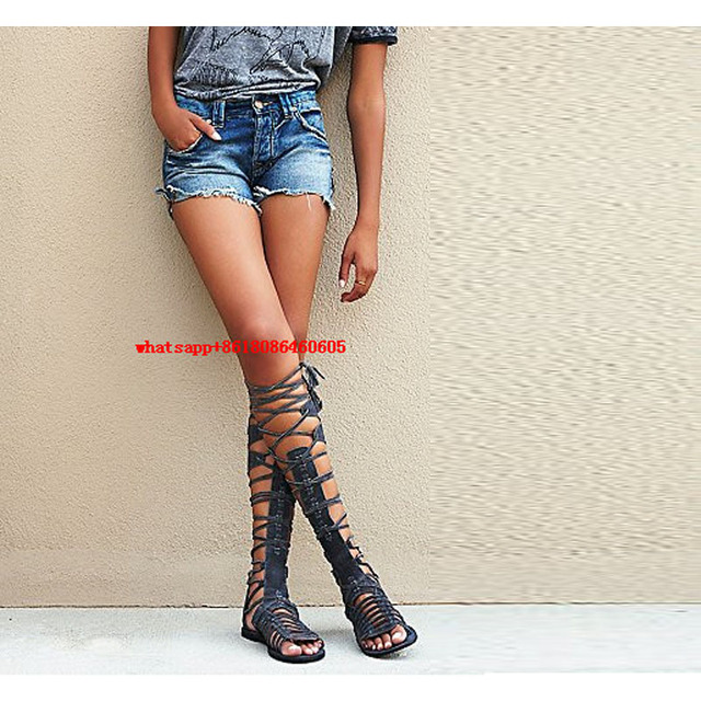 46f24923bb905 Choudory classic Style Bohemia Gladiator Sandals Woman Flat Peep Toe Thigh  High Fringe Boots Lace Up Overknee Boots Ladies Shoes