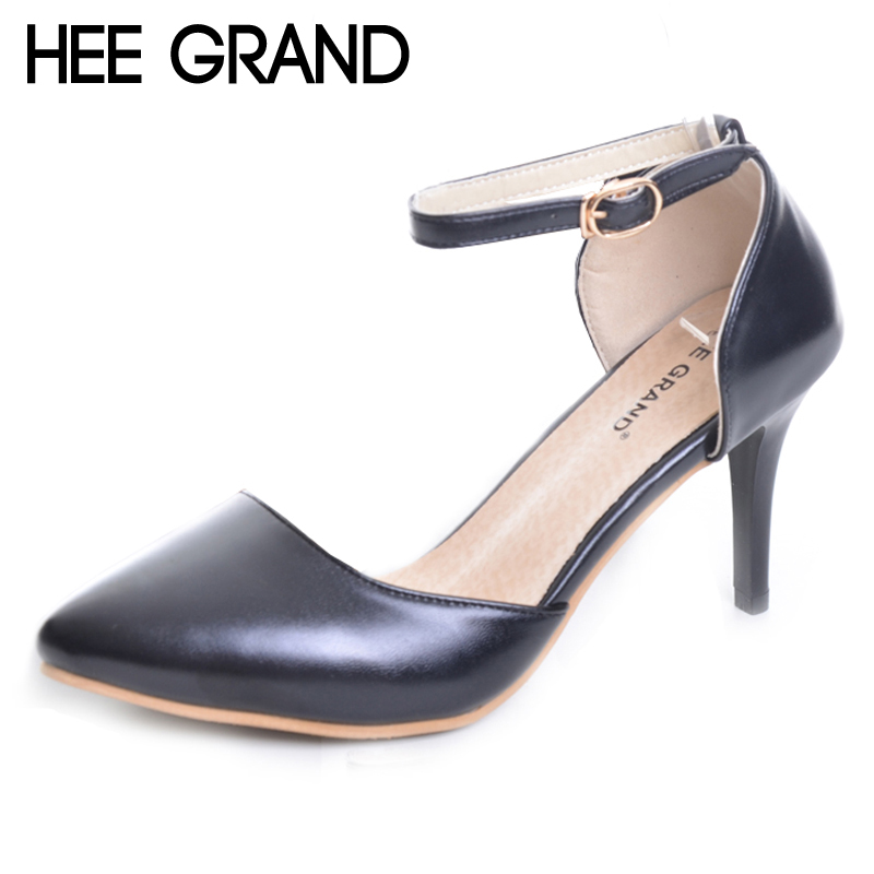 HEE GRAND Elegant Solid High Heels 2017 Summer Buckle strap Pumps Pointed Toe Patend Leather Wedding Shoes Woman 4Colors XWZ4433 women pumps flock high heels shoes woman fashion 2017 summer leather casual shoes ladies pointed toe buckle strap high quality