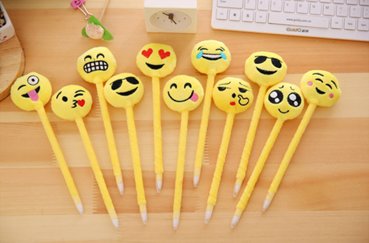 24pcs / Lot Emoji Expression Funny Ballpoint Pen Smile Face Ball-Point Pen Blue Ink Party Favors Best Creative Gift for Kids