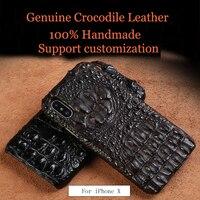 LANGSIDI Роскошный натуральная из крокодиловой кожи чехлы для iphone X ручной работы дизайн половина пакет чехол для телефона для iphone 7 8 Plus