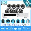 16 canais cctv dvr sistema de segurança 600tvl IR dome câmera de vigilância de vídeo dvr 16ch 1080 p 1 TB HDD SK-221