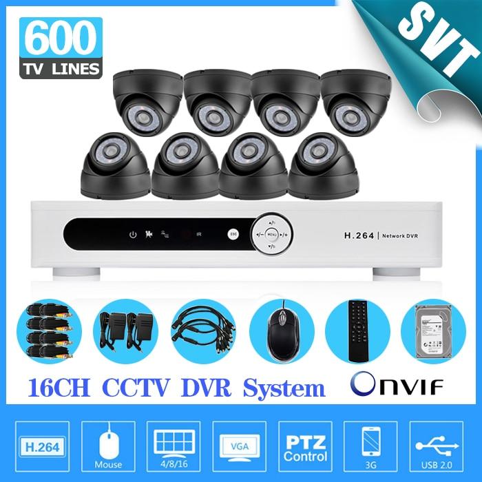16 channel cctv dvr security system 600tvl IR dome video