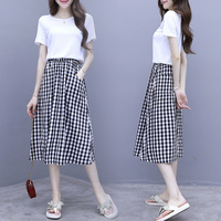 2019 New Brief Loose Plaid Casual 2 Piece Set Women Plus Size Clothing White Tops And Skirts Woman Artistic 2piece Set Womens