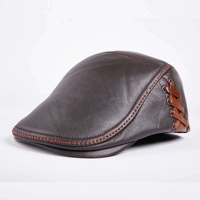 Men's Cowhide   Cap   Adult Genuine Leather Warm Hat Young Hat Middle-aged Leather   Cap   Single Hat Male   Baseball     Cap   B-7874