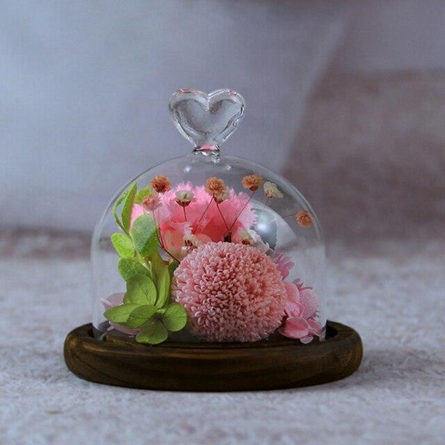 Preserved Fresh Carnation Glass Bell Holder Eternal Flower Micro Landscape Birthday Gift Christmas Send Mom