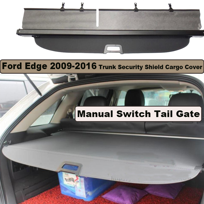 Car Rear Trunk Security Shield Cargo Cover For Ford Edge 2009-2016 Manual Switch Tail Door PARCEL SHELF SHADE TRUNK RETRACTABLE car rear trunk security shield shade cargo cover for hyundai creta ix25 2014 2015 2016 2017 black beige