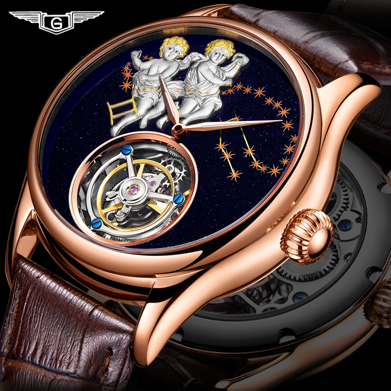 GUANQIN 2019 Real Tourbillon Mechanical Hand Wind Mens Watches Top Brand Luxury Gemini Clock men Gold Sapphire Relogio Masculino