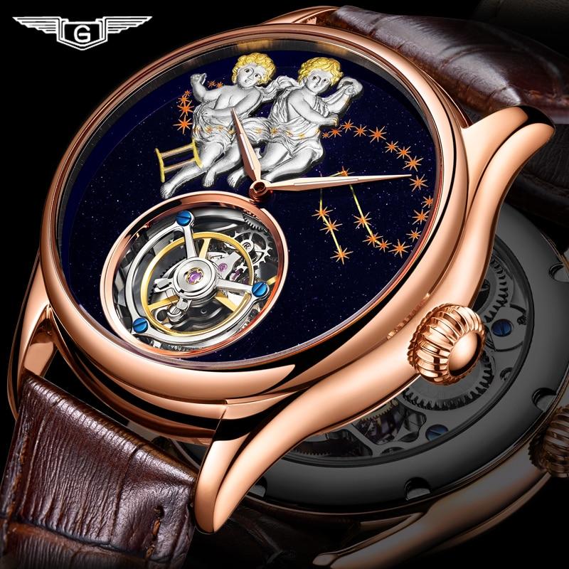 GUANQIN 2019 Real Tourbillon Mechanical Hand Wind Mens Watches Top Brand Luxury Gemini Clock men Gold Sapphire Relogio Masculino