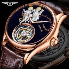 Guanqin 2020リアルトゥールビヨンメカニカルハンド風メンズウォッチトップブランドの高級ジェミニ時計男性ゴールドサファイアレロジオmasculino