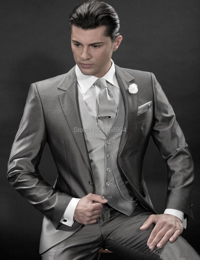 Charcoal silver tuxedos men\'s groom suits for wedding peak lapel ...